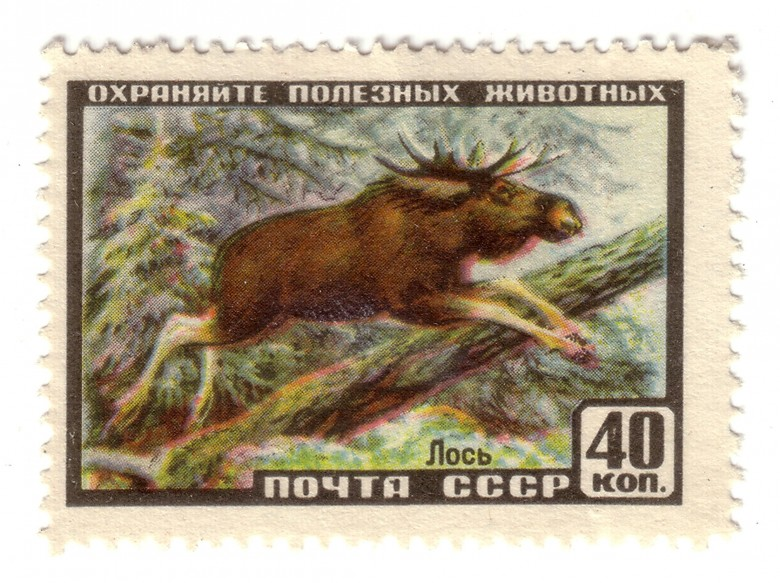 Art - Stamp Art - Russian - Moose