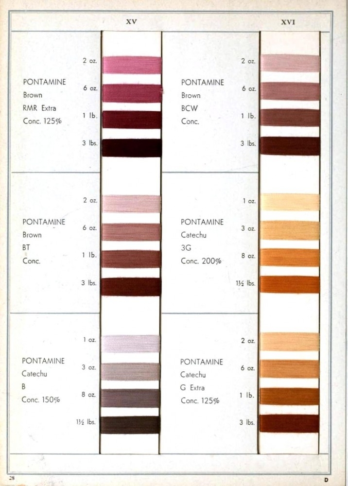 Color - Multiple - Textile color on cotton (Dupont) - Browns, mauves