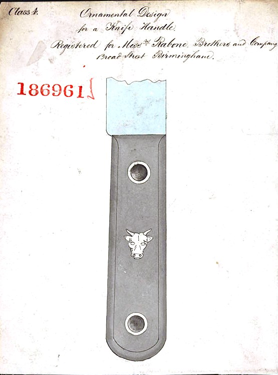 Design - Object - British Design Patent (1865) 186961 Knife handle