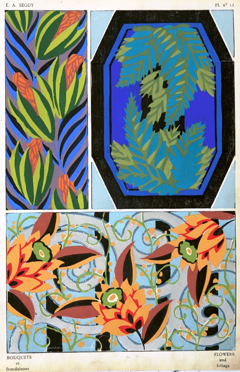 Design - Paper - Art Deco wallpaper, blue and orange flowers