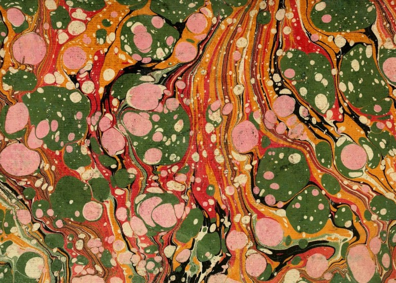 Design - Paper - Marbleized pink, army green