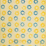 Design - Paper - Pattern - Blue and yellow sun stencil