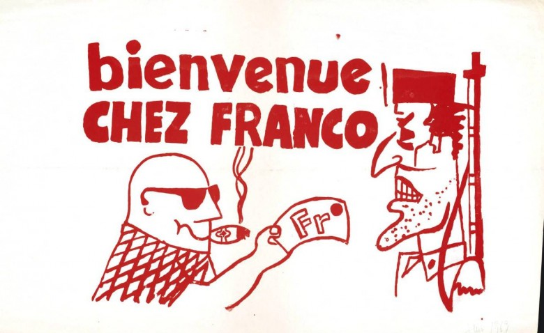 Ephemera - Poster - Paris Student Political Activity Bienvenue chez Franco  1968