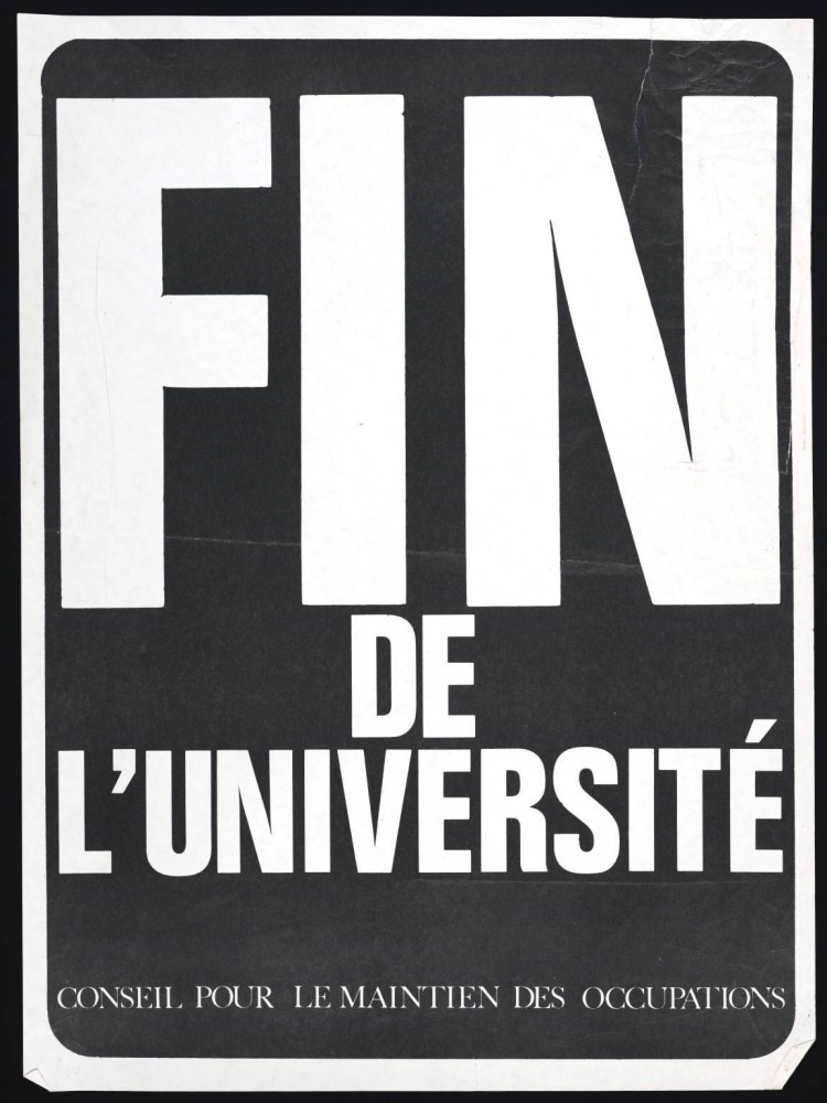 Ephemera - Poster - Paris Student Political Activity Fin de L'Universite 1968