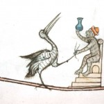 Medieval - Animal - Animal acting human - Monkey performing urinanalysis on crane