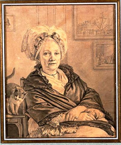 Portrait - Drawing - Cat, Seated woman with cat, Moreau