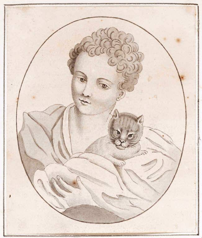 Portrait - Drawing - Girl with cat