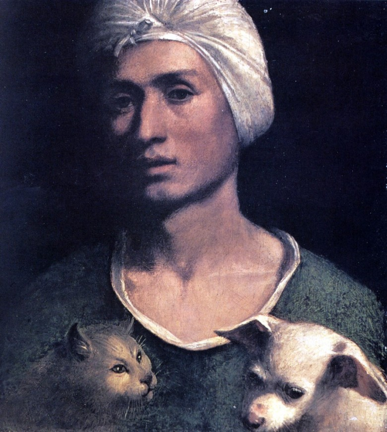 Portrait - Face - Young man with a dog and a cat