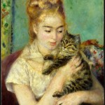 Portrait - Painting - Cat, Woman with a cat, Renoir
