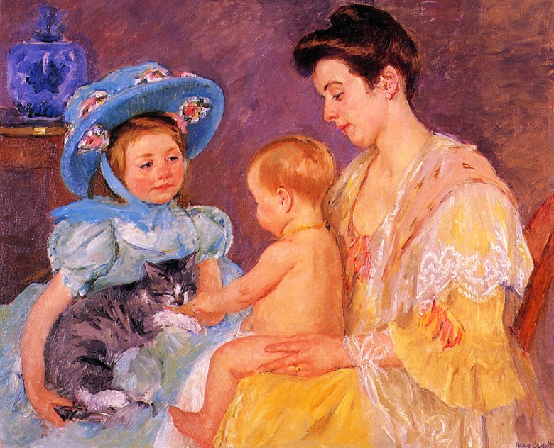 Portrait - Painting - Children_Playing_with_a_Cat