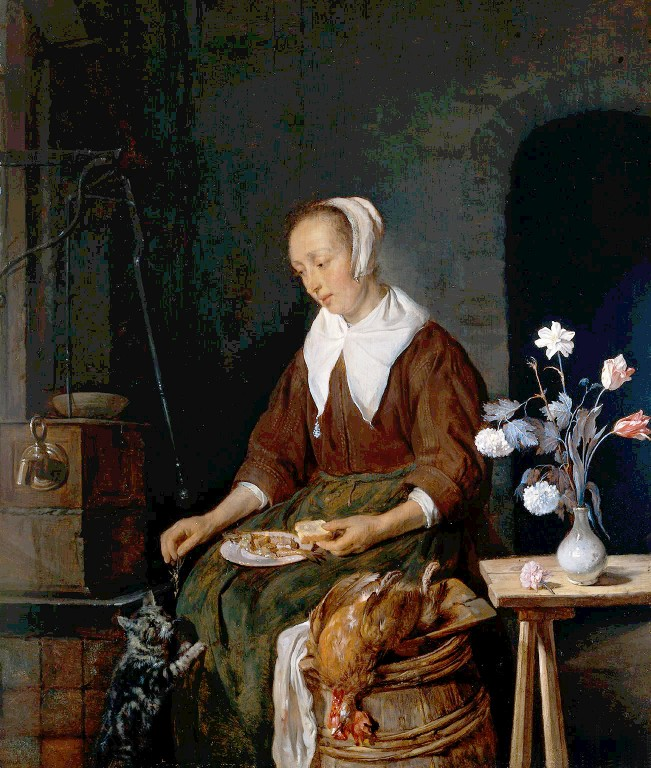 Portrait - Painting - Flemish girl feeding cat
