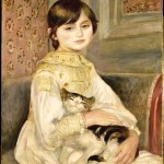 Portrait - Painting - Girl with a cat