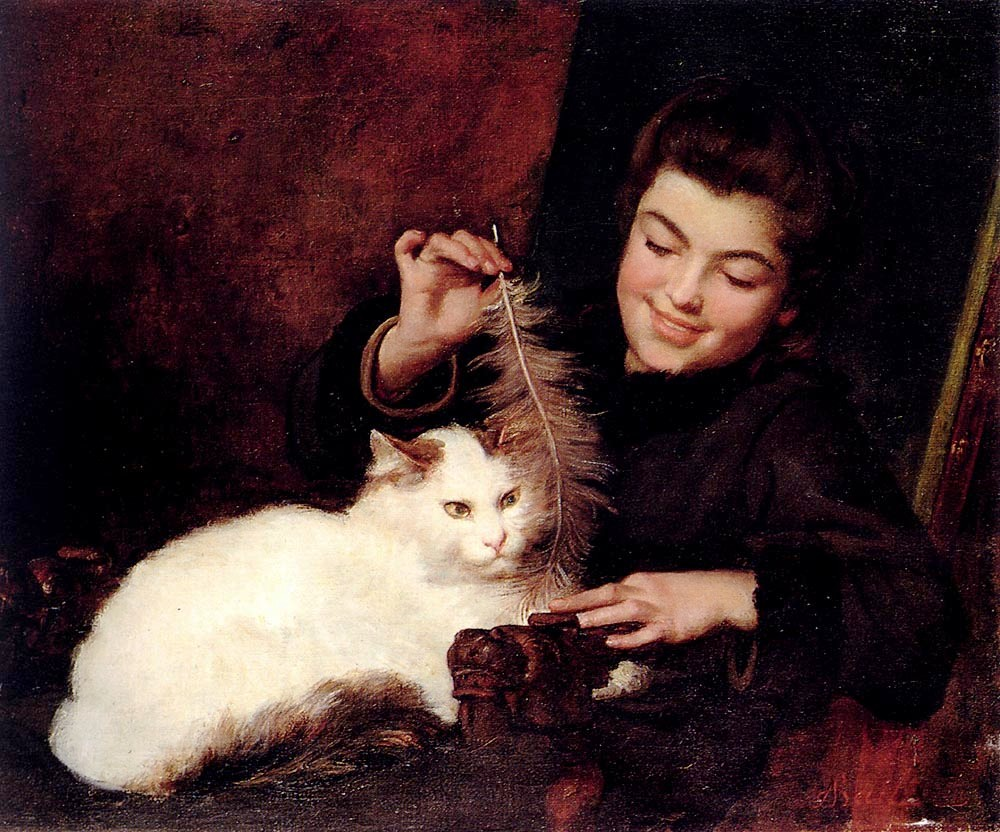 Portrait - Painting - Girl with cat -Bail_Antoine_Jean_A_Young_Girl_With_A_White_Cat