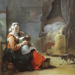 Portrait - Painting - Mother and child with cat, weenix