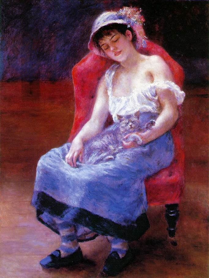 Portrait - Painting - Sleeping girl with cat, Renoir