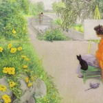 Portrait - Painting - Woman in orange cape with black kitten in garden (1912)