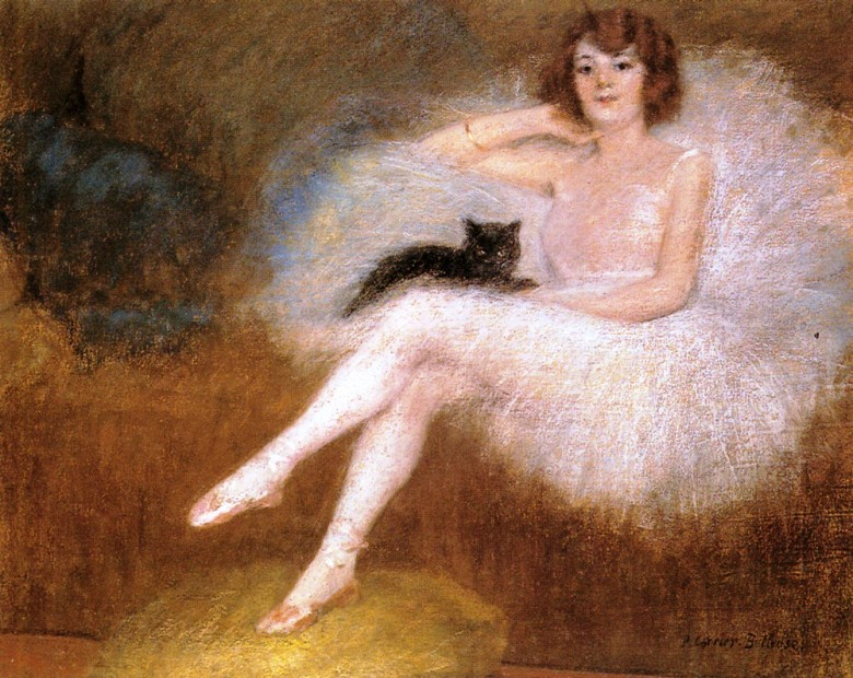 Portrait - People with Animals - Ballerina with black cat