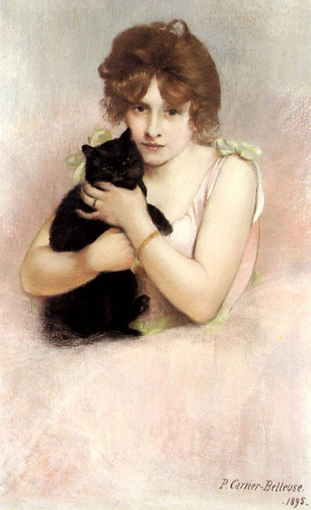 Young Ballerina Holding Black Cat