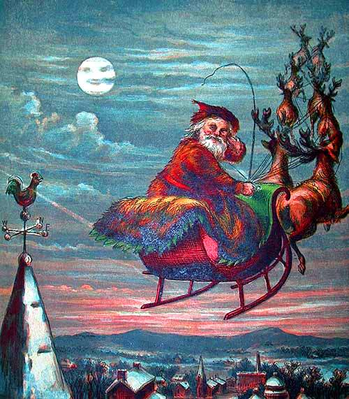 Seasonal - Winter - Holiday - Santa an reindeer in flight 1869