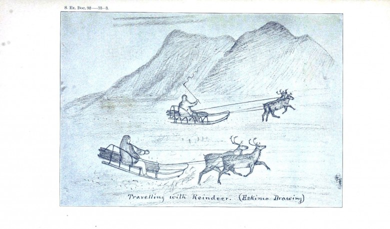Seasonal - Winter - Traveling with Reindeer drawing